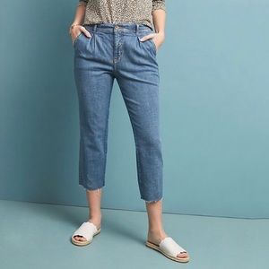 Anthropologie Pilcro crop pleated trouser jeans 29